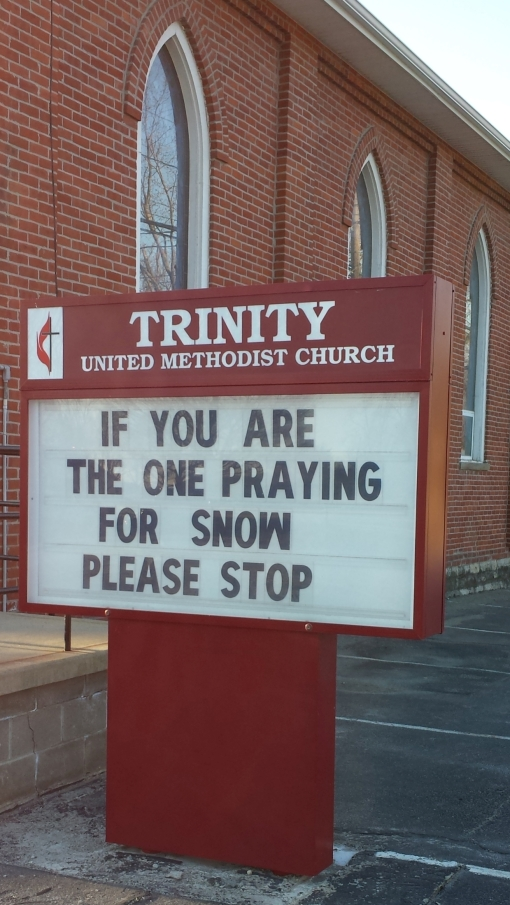 church snow sign