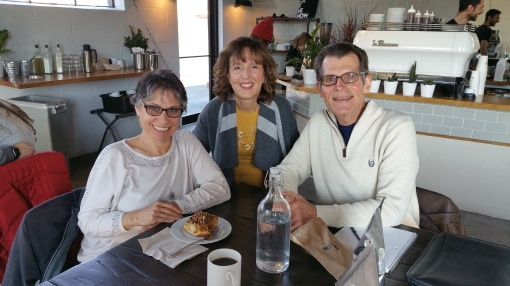 Heartland Gardening bloggers Deb Knapke, Teresa Woodard and Michael Leach recent met for a brainstorming session at Fox in the Snow café near downtown Columbus.